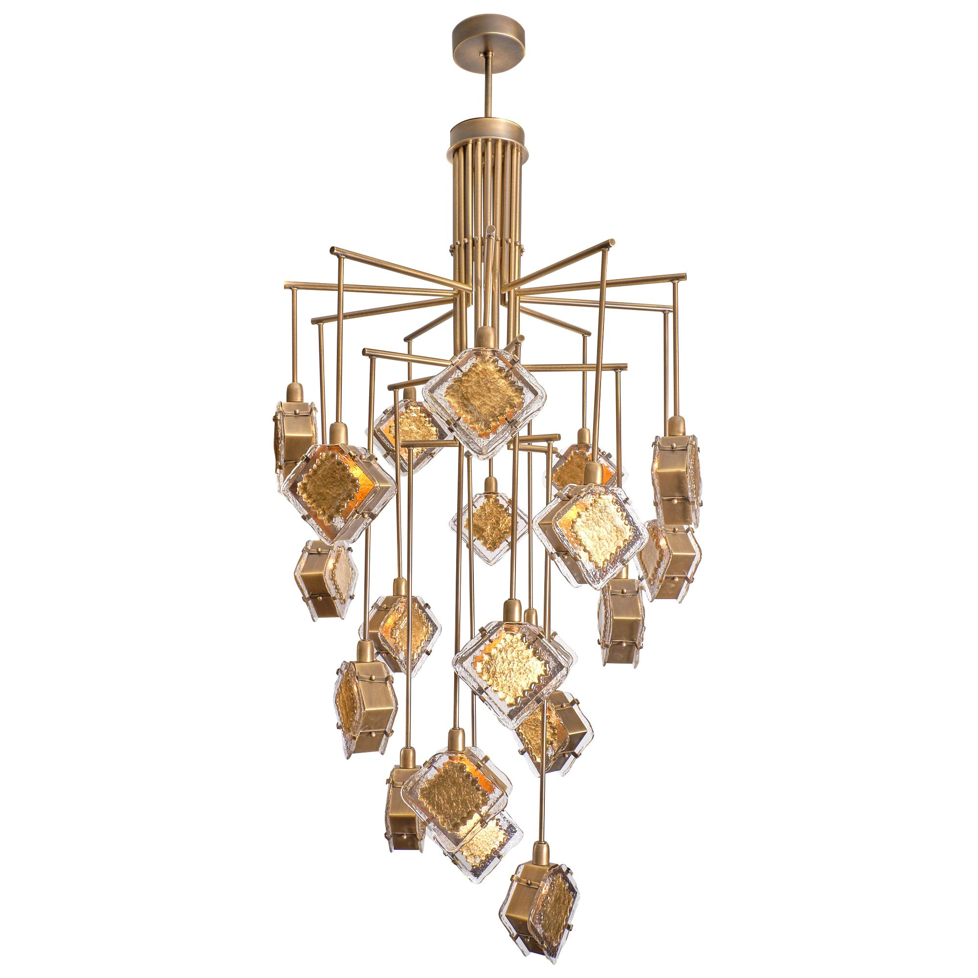 Bronze Gold and Murano Glass Chandelier