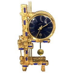 Bronze Gold-Plated Clock with Blue Stones