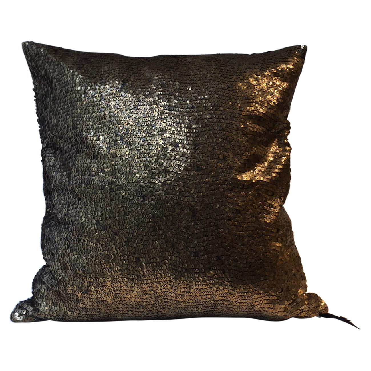 Bronze Gold Sequined Cushion Hand Embroidery on Silk Satin Color Chocolate Brown