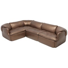 Bronze Golden Leather Saporiti Sectional Sofa 'Confidential'