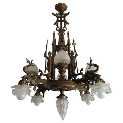 Bronze Gothic Revival Chandelier / Pendant Light w. Knights & Dragons Sculptures