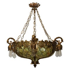 Bronze Gothic Revival Fish Scale Leaded Glass Chandelier Att. Duffner & Kimberly