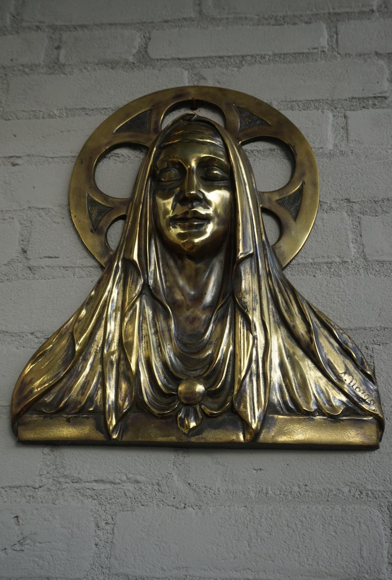 Bronze Gothic Wall Plaque by S. Norga Depicting Mother Mary in Cinquefoil Halo For Sale 3