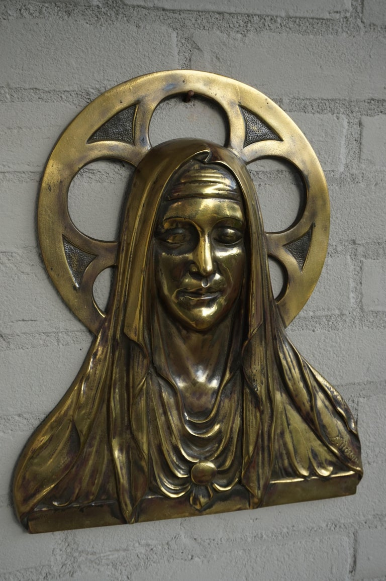 Gothic Revival Bronze Gothic Wall Plaque by S. Norga Depicting Mother Mary in Cinquefoil Halo For Sale