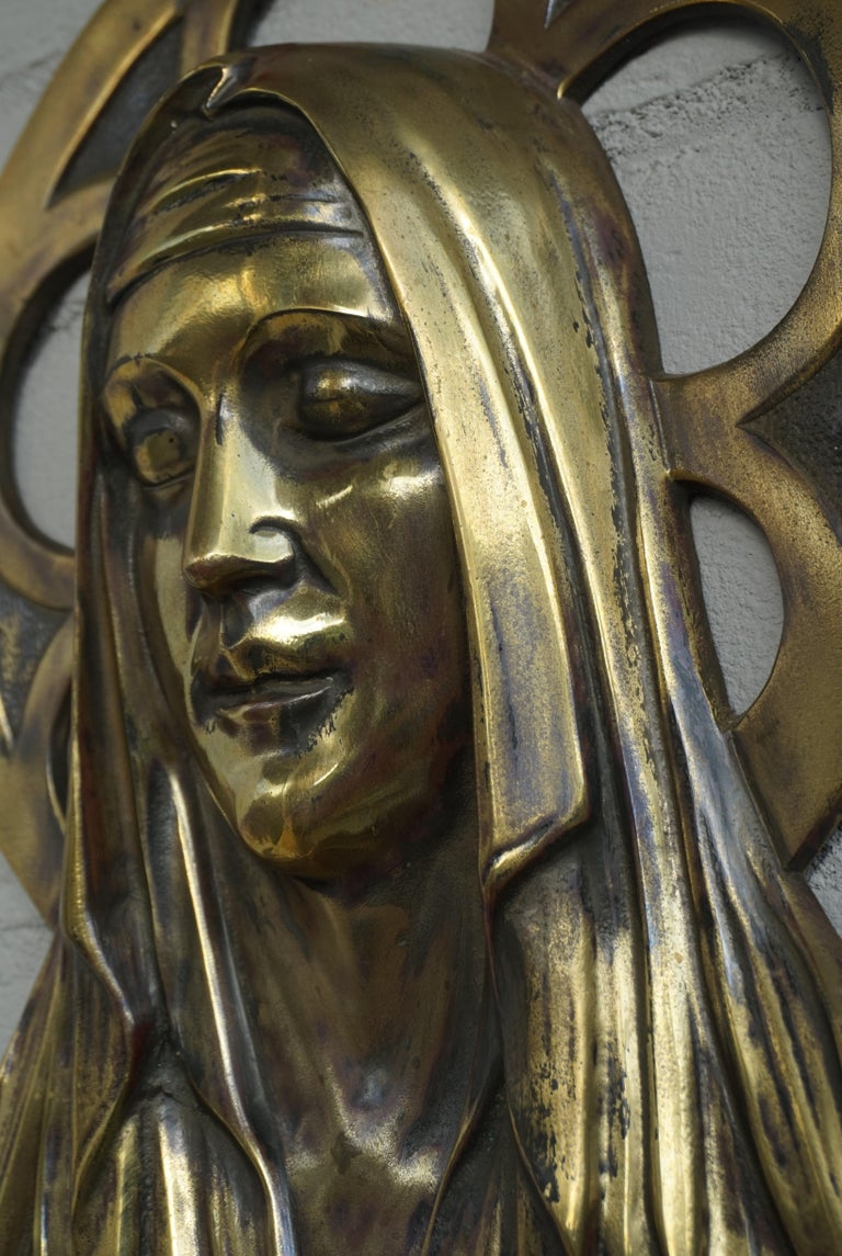 Belgian Bronze Gothic Wall Plaque by S. Norga Depicting Mother Mary in Cinquefoil Halo For Sale