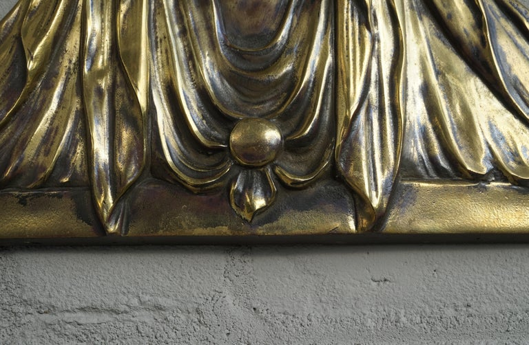 Hand-Crafted Bronze Gothic Wall Plaque by S. Norga Depicting Mother Mary in Cinquefoil Halo For Sale
