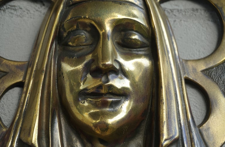 20th Century Bronze Gothic Wall Plaque by S. Norga Depicting Mother Mary in Cinquefoil Halo For Sale
