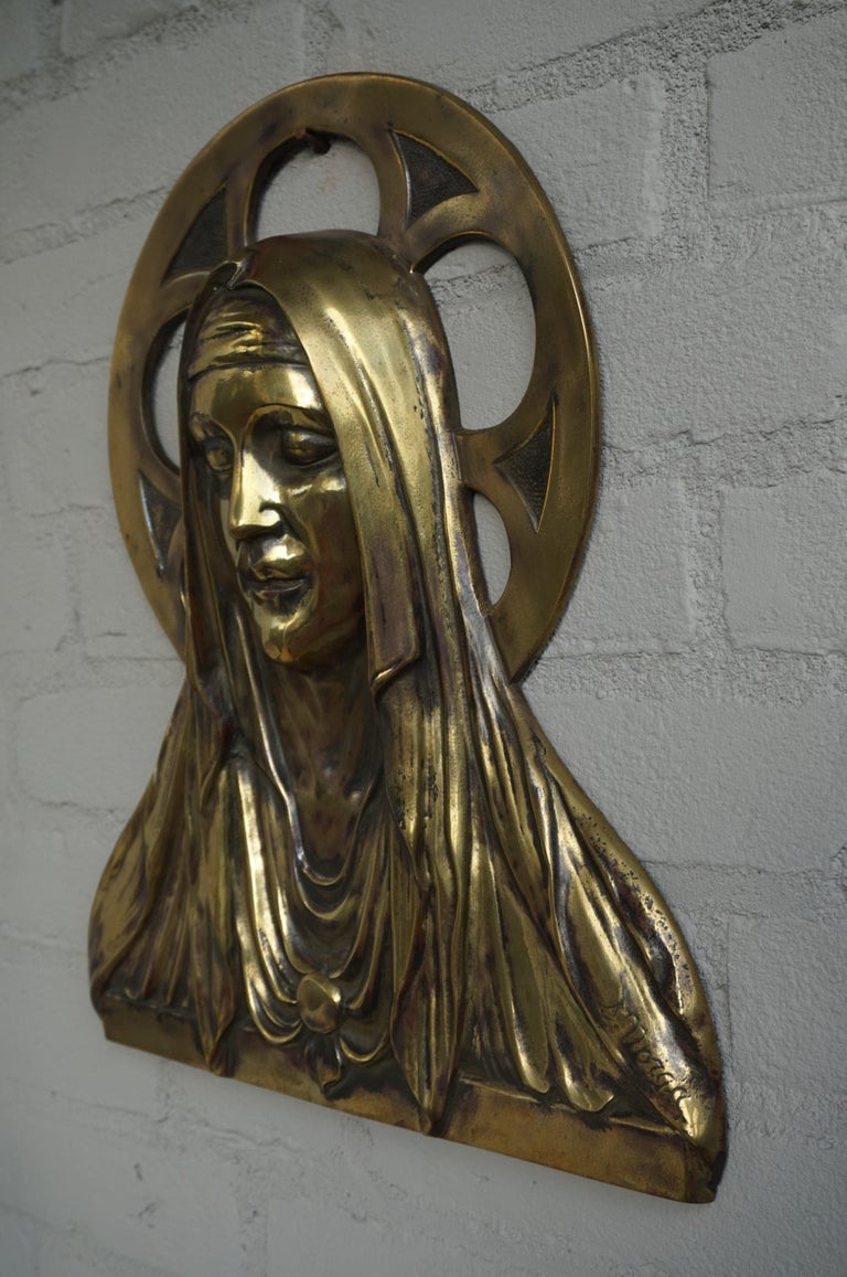 Bronze Gothic Wall Plaque by S. Norga Depicting Mother Mary in Cinquefoil Halo For Sale 2