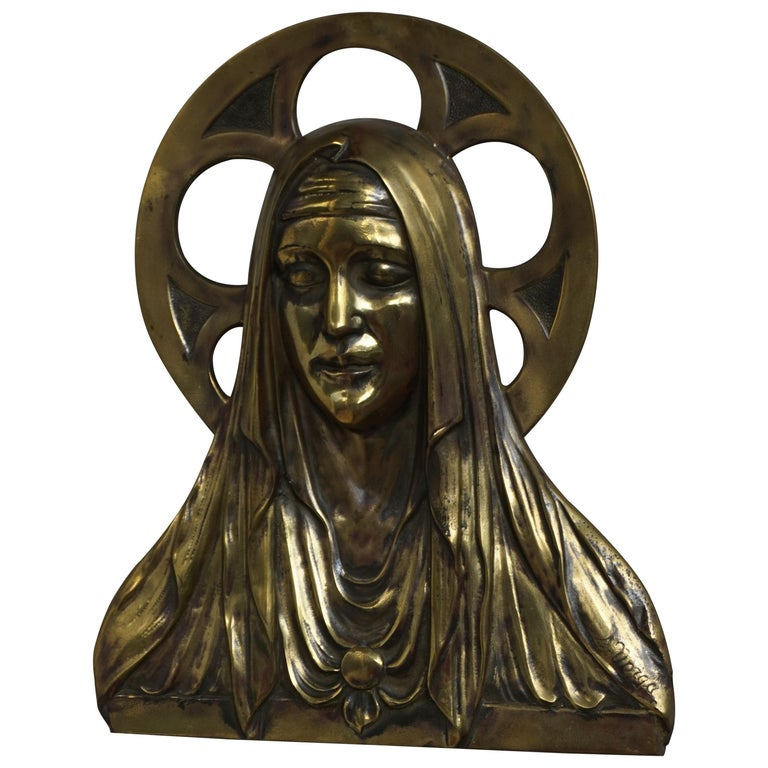 Bronze Gothic Wall Plaque by S. Norga Depicting Mother Mary in Cinquefoil Halo For Sale
