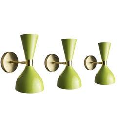 "Bronze + Grüne Emaille ""Ludo"" Wandlampe, Blueprint Lighting NYC"