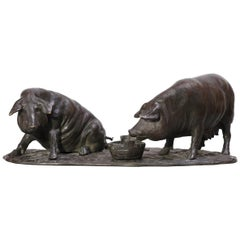 Bronze Group of Pigs