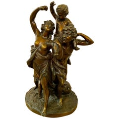 Bronze Grouping Of A Pan and Nymph Signed C. Coldion 'Bacchanalia' with Cherub