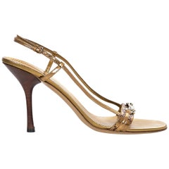 Gucci Bronze Leather GG-Embossed Sandals