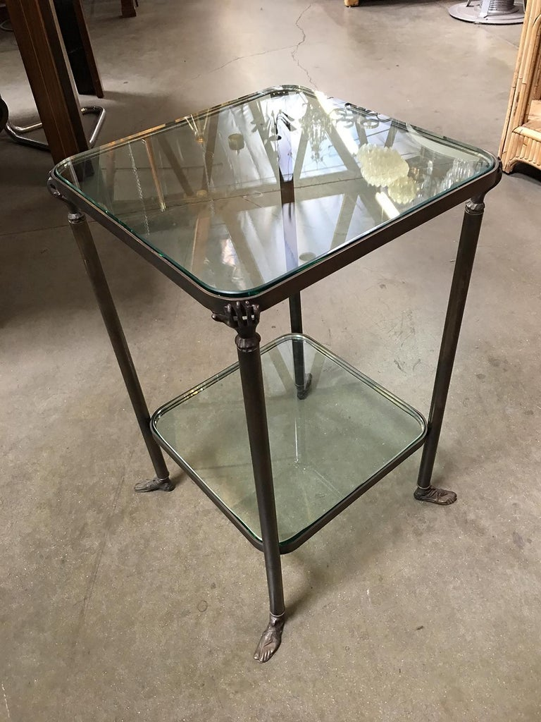 Bronze Hand and Foot Glass Top Gueridon Side Table In New Condition For Sale In Van Nuys, CA