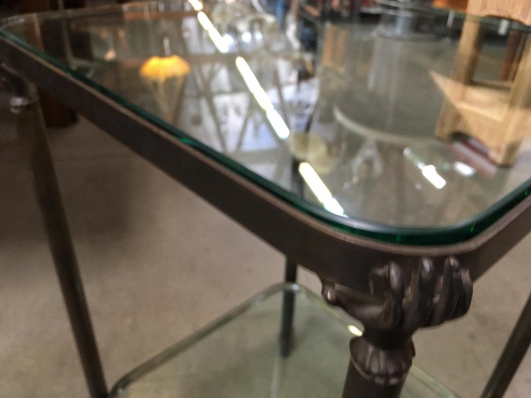 Bronze Hand and Foot Glass Top Gueridon Side Table For Sale 3