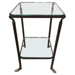 Bronze Hand and Foot Glass Top Gueridon Side Table