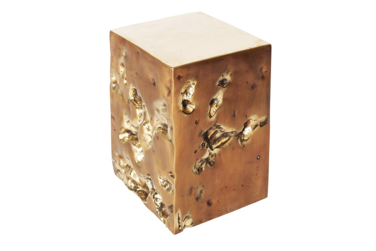 Belgian Bronze Hand Casted Side Table or Stool by Studio Goldwood For Sale