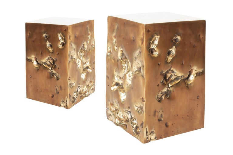 Bronze Hand Casted Side Table or Stool by Studio Goldwood For Sale 1