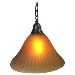 Bronze Hanging Lamp with Amber Glass Shade