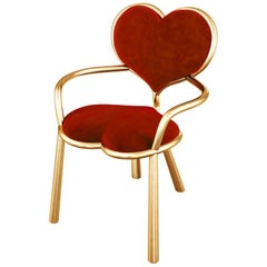 Bronze Heart Chair With Red Mohair Upholstery