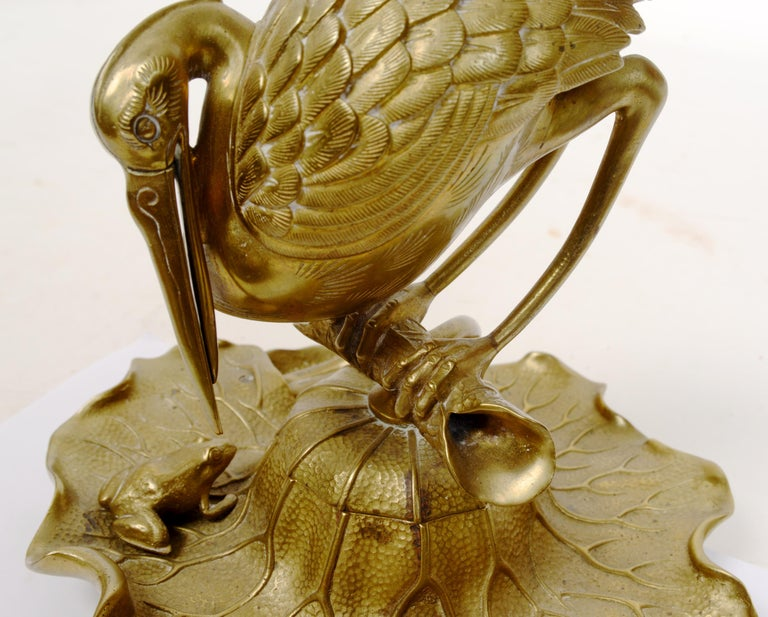 Unknown Bronze Heron & Frog Lily Pad Form Inkwell with Articulated Hinged Mouth Holder