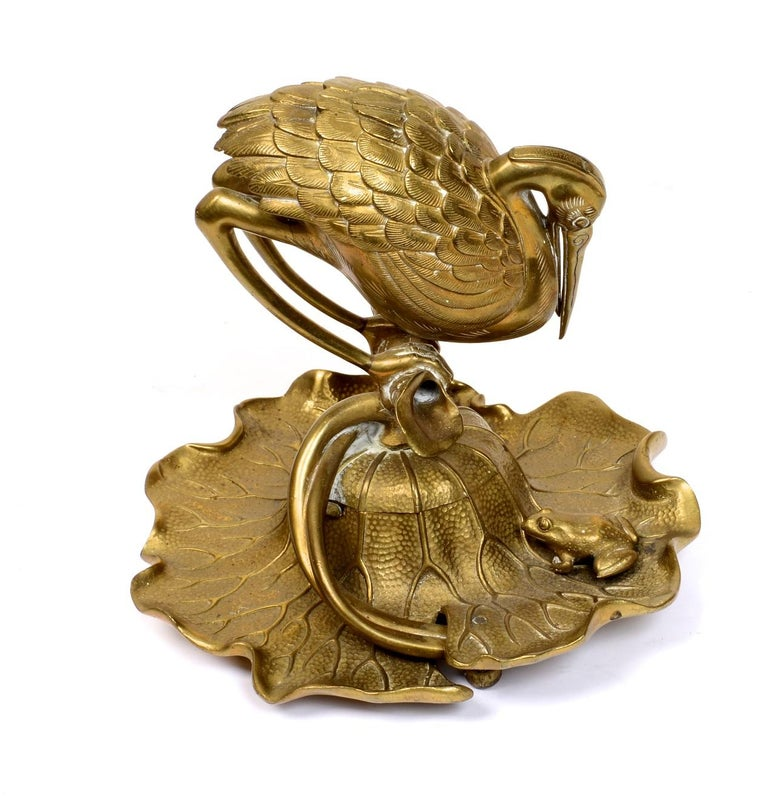 Bronze Heron & Frog Lily Pad Form Inkwell with Articulated Hinged Mouth Holder In Good Condition In valatie, NY
