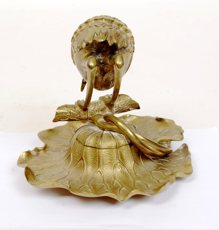 20th Century Bronze Heron & Frog Lily Pad Form Inkwell with Articulated Hinged Mouth Holder For Sale