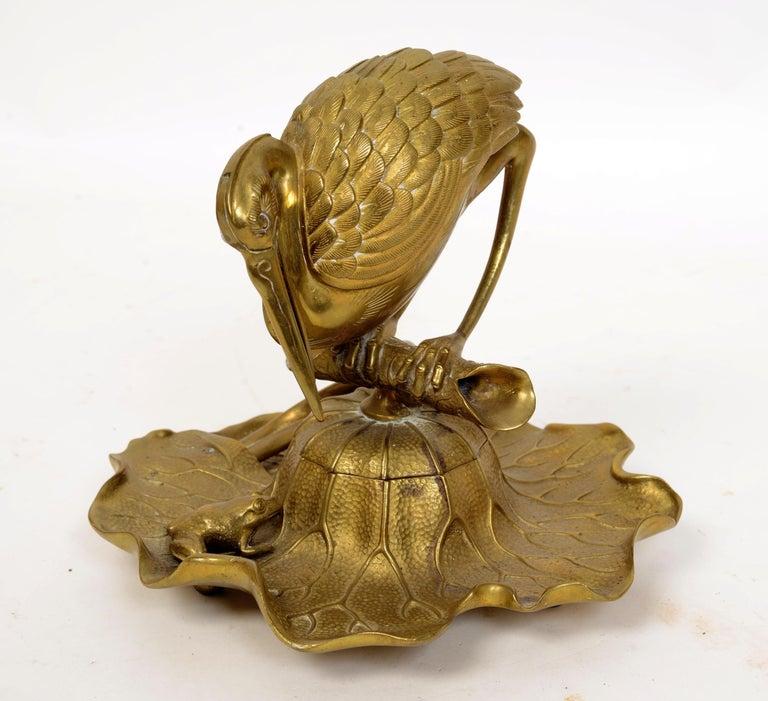 Brass Bronze Heron & Frog Lily Pad Form Inkwell with Articulated Hinged Mouth Holder For Sale