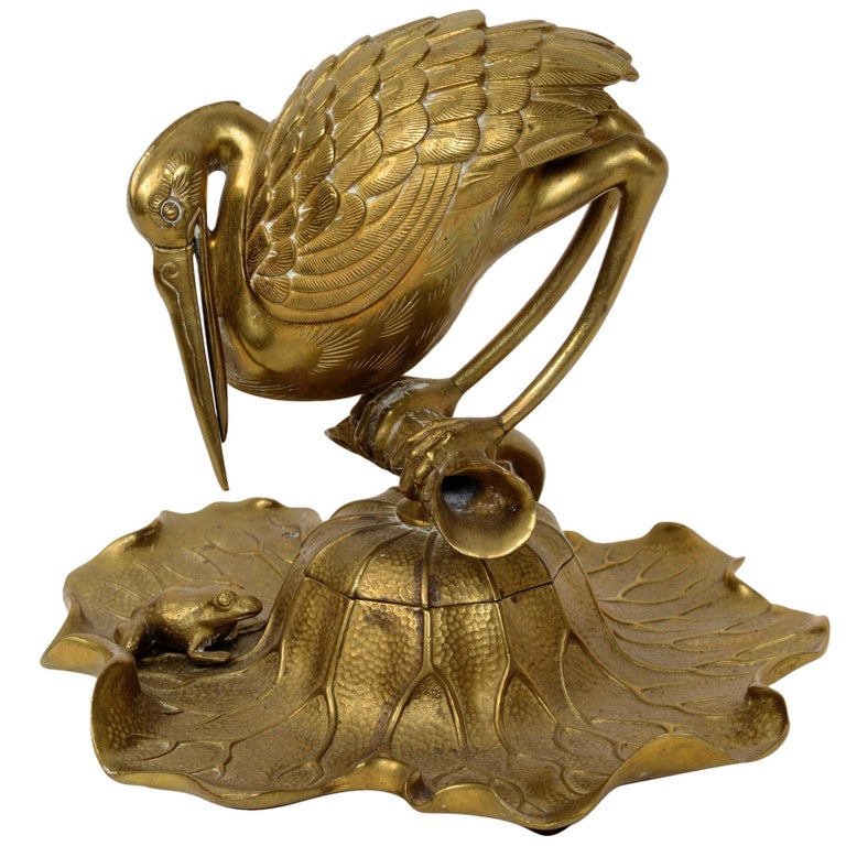 Bronze Heron & Frog Lily Pad Form Inkwell with Articulated Hinged Mouth Holder For Sale
