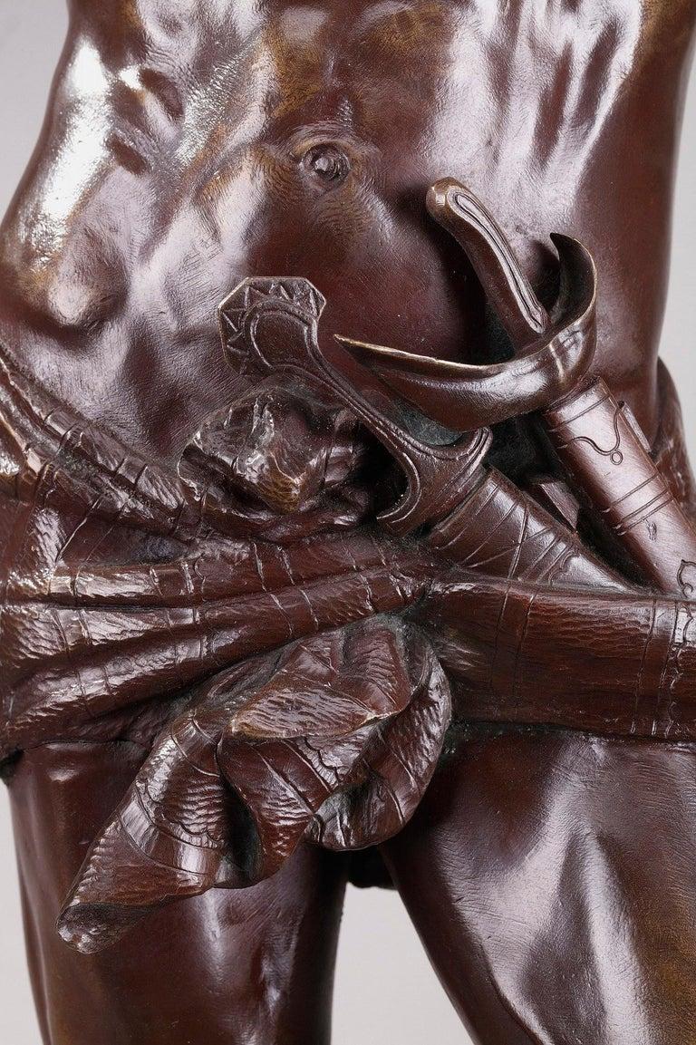 Bronze Hindu Bird-Catcher by Auguste de Wever 'Belgian, 1836-1910' For Sale 3