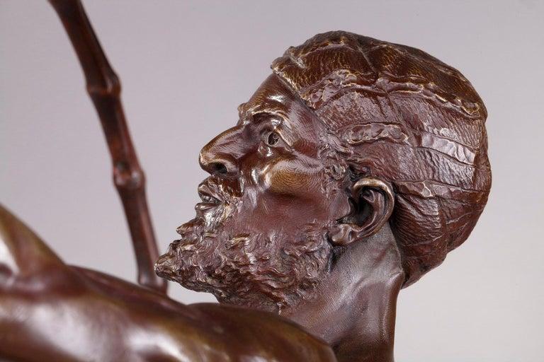Bronze Hindu Bird-Catcher by Auguste de Wever 'Belgian, 1836-1910' For Sale 4