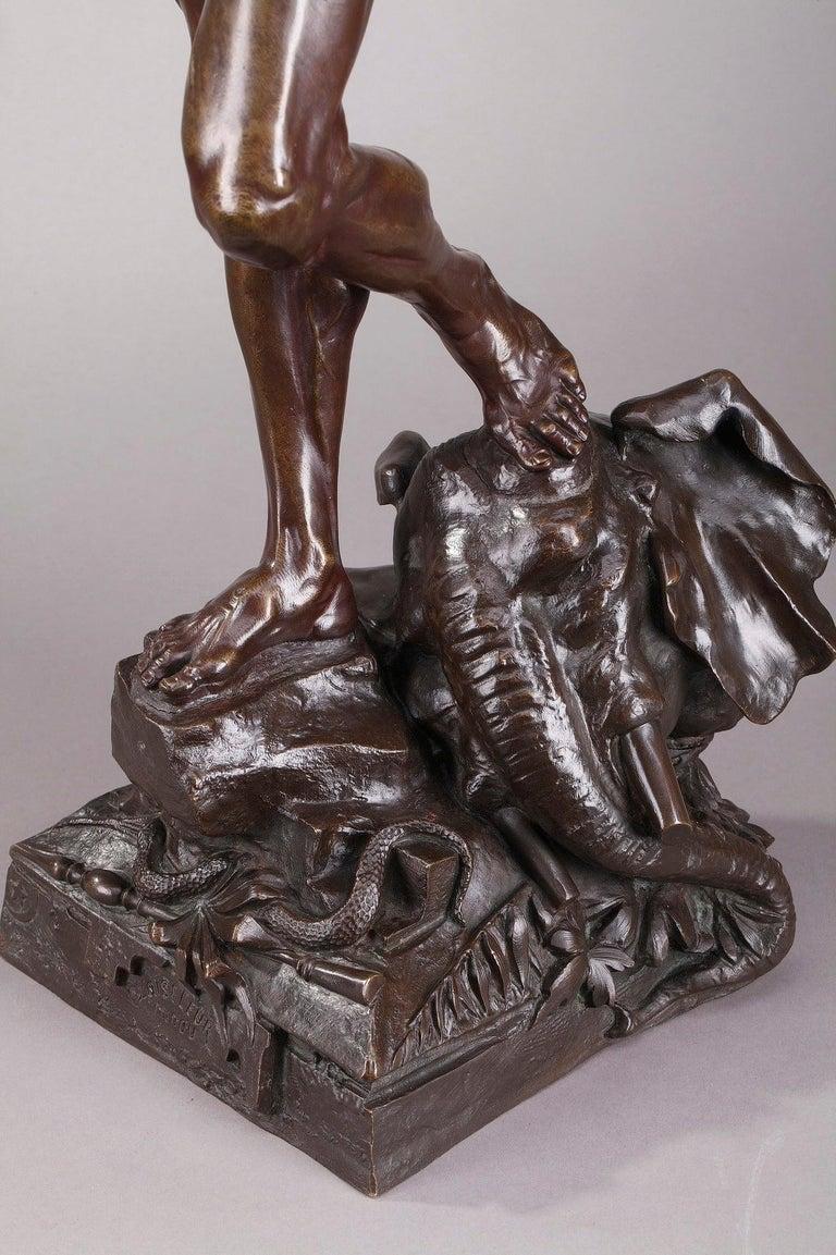Bronze Hindu Bird-Catcher by Auguste de Wever 'Belgian, 1836-1910' For Sale 5