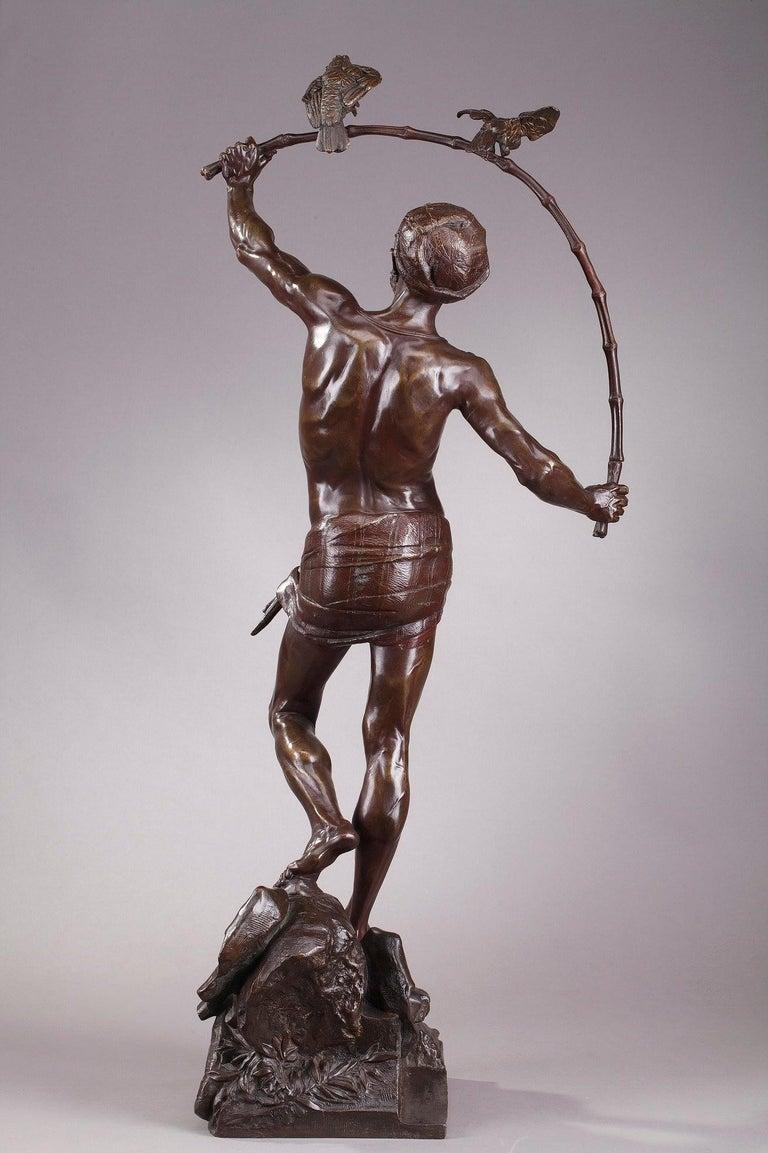 Bronze Hindu Bird-Catcher by Auguste de Wever 'Belgian, 1836-1910' For Sale 6