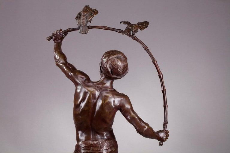 Bronze Hindu Bird-Catcher by Auguste de Wever 'Belgian, 1836-1910' For Sale 7