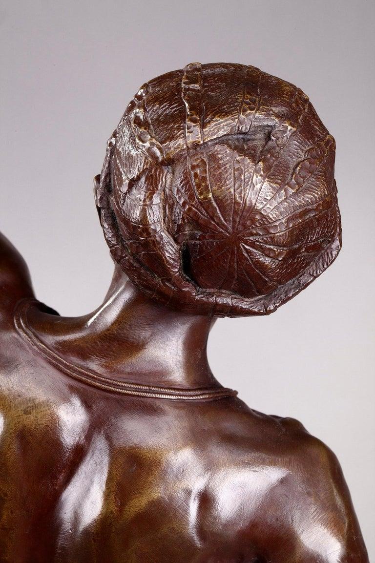 Bronze Hindu Bird-Catcher by Auguste de Wever 'Belgian, 1836-1910' For Sale 8