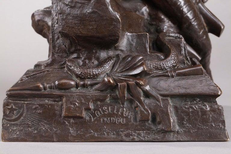 Bronze Hindu Bird-Catcher by Auguste de Wever 'Belgian, 1836-1910' For Sale 1