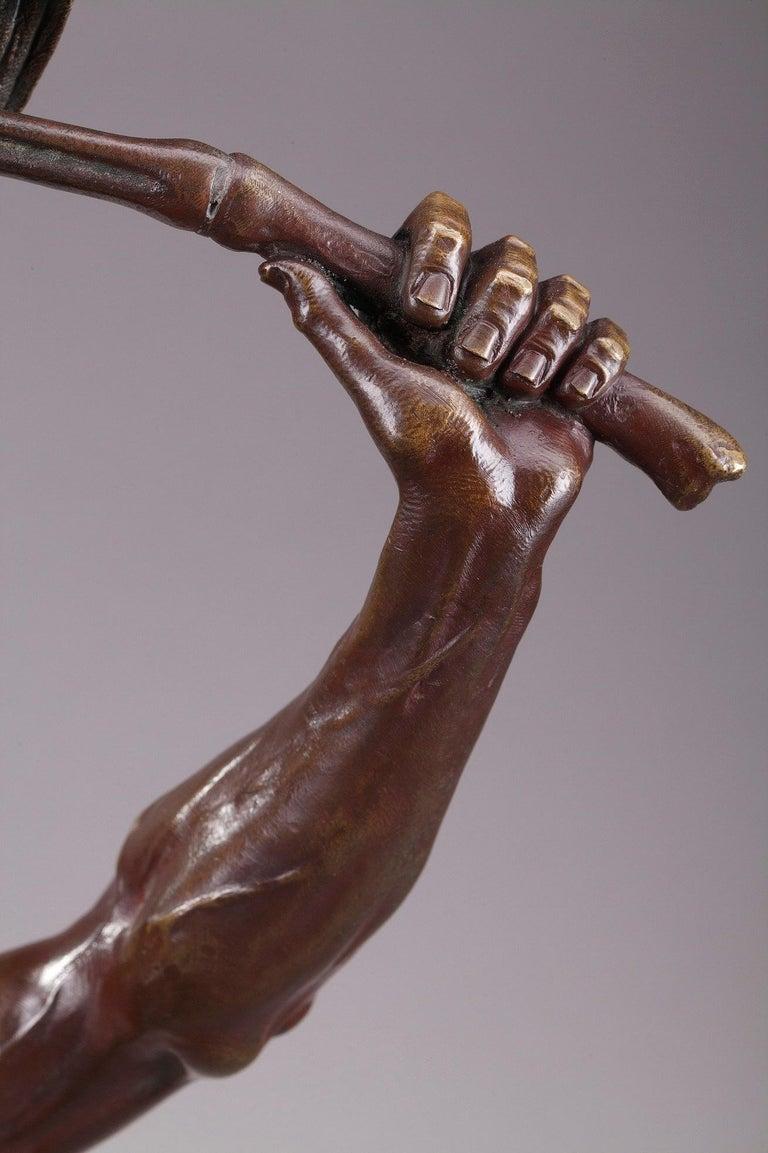 Bronze Hindu Bird-Catcher by Auguste de Wever 'Belgian, 1836-1910' For Sale 2