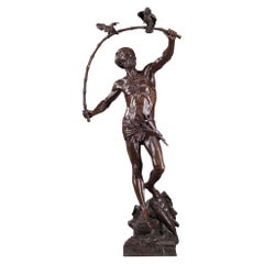 Bronze Hindu Bird-Catcher by Auguste de Wever 'Belgian, 1836-1910'