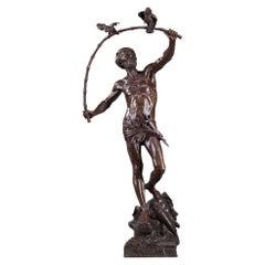 Bronze Hindu Bird-Catcher by Auguste de Wever 'Belgian, 1836-1910'
