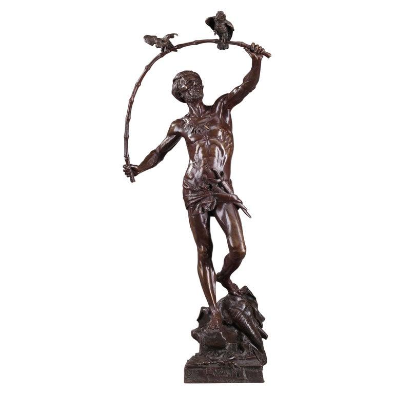 Bronze Hindu Bird-Catcher by Auguste de Wever 'Belgian, 1836-1910' For Sale