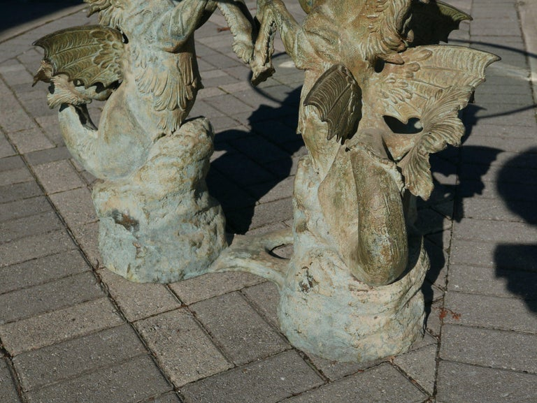 Italian Bronze Hippocampus Center Table with Verdigris Patina For Sale