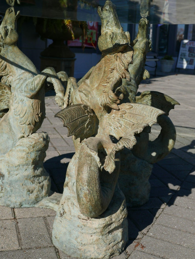 Patinated Bronze Hippocampus Center Table with Verdigris Patina For Sale