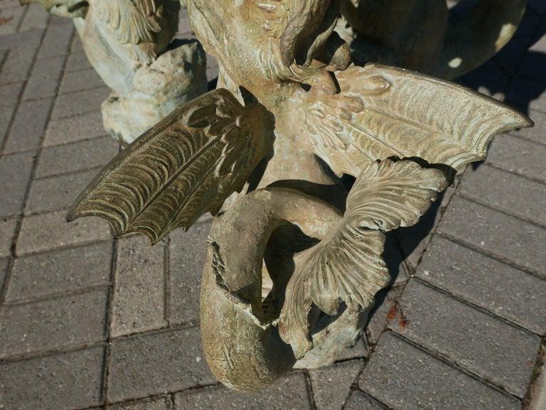 Bronze Hippocampus Center Table with Verdigris Patina In Good Condition For Sale In Kilmarnock, VA