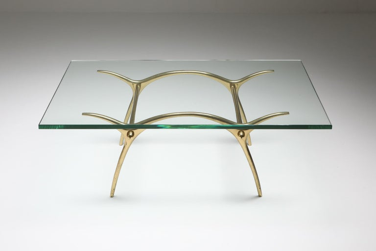 Kouloufi cocktail table, polished bronze, Belgium 1970s