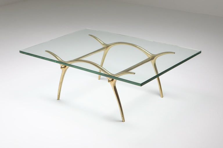 Post-Modern Bronze Hollywood Regency Coffee Table by Kouloufi For Sale