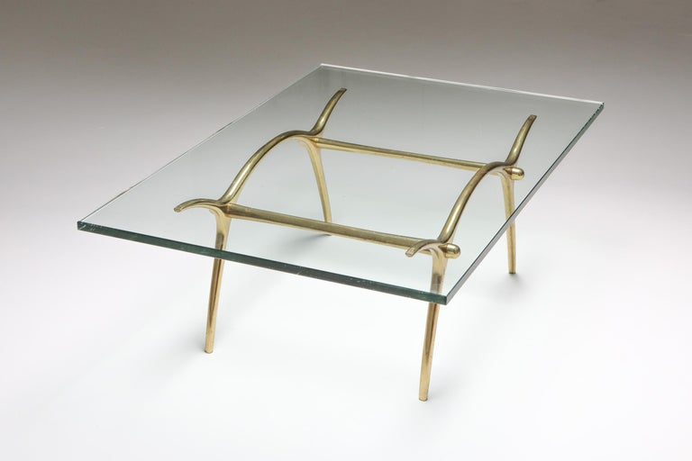 Bronze Hollywood Regency Coffee Table by Kouloufi In Excellent Condition For Sale In Antwerp, BE