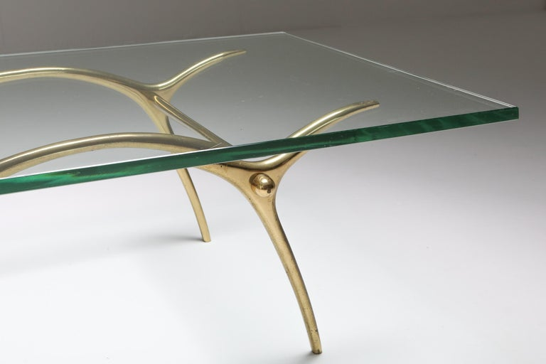 Brass Bronze Hollywood Regency Coffee Table by Kouloufi For Sale