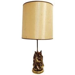 Bronze Horse Head Table Lamp, 1970s France