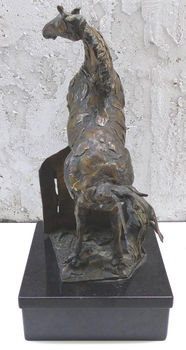 Marble Bronze Horse Sculpture by the Mexican Artist Heriberto Jaurez For Sale