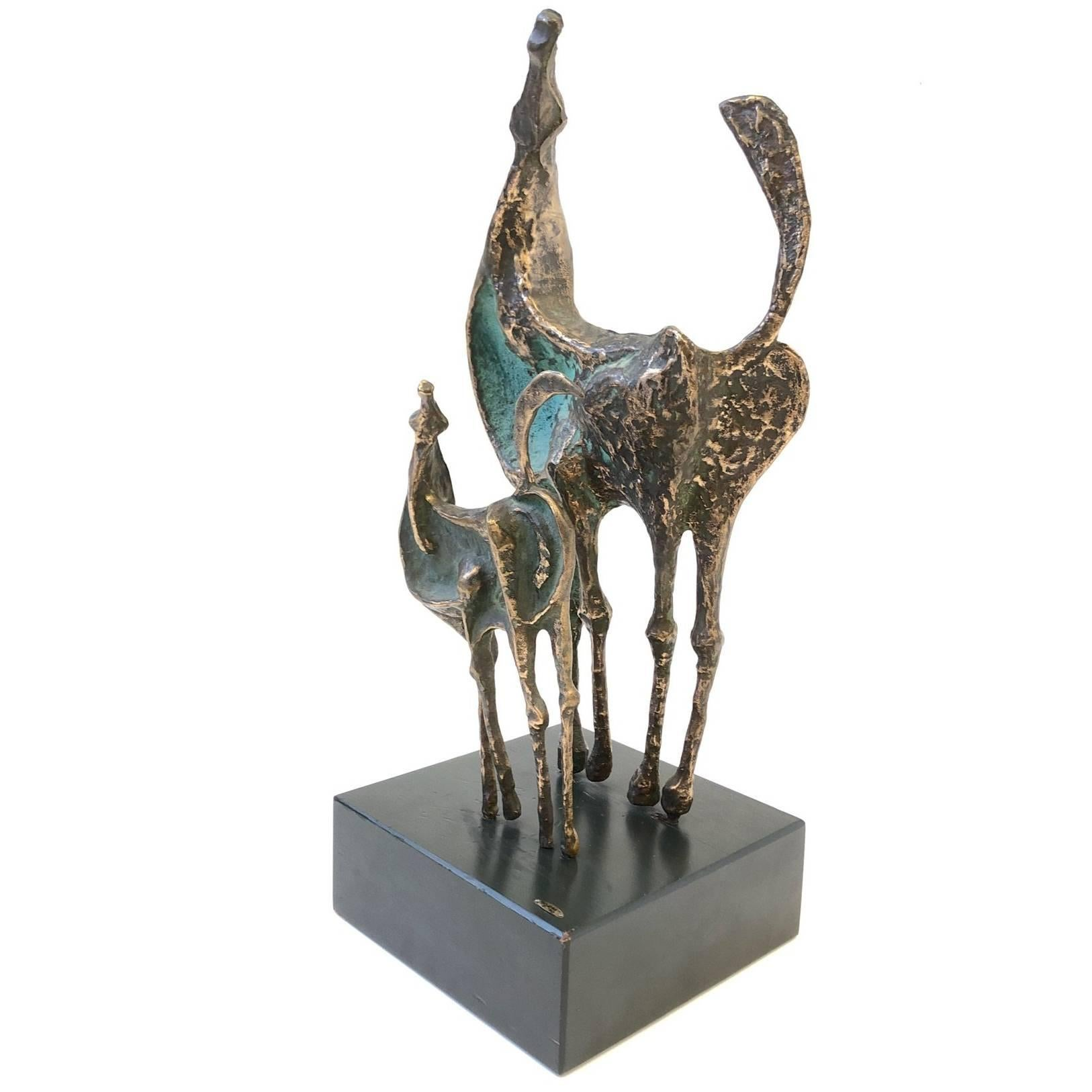 Bronze Horses Sculpture by Curtis Jere